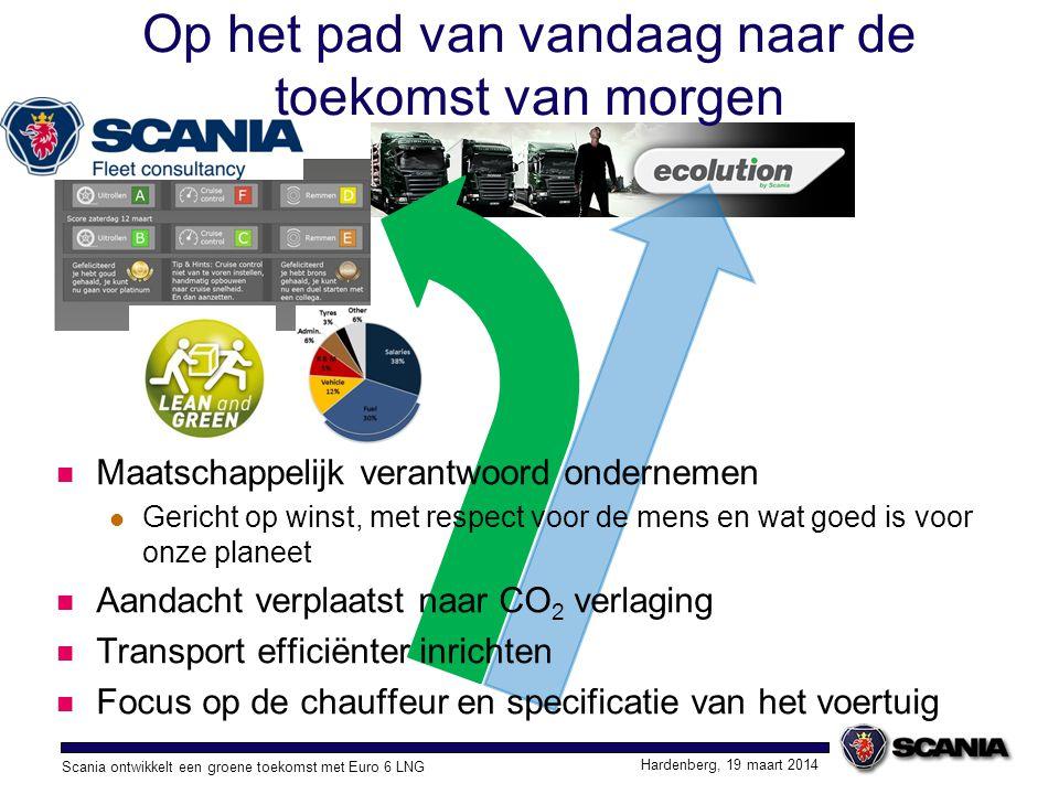 Scania ontwikkelt een groene toekomst met Euro 6 LNG Hardenberg, 19 maart 2014 Op het pad van vandaag naar de toekomst van morgen Alternatieve brandstoffen nodig, omdat aardolie bronnen uitgeput raken Fabrikanten moeten zich voorbereiden op een mix van brandstoffen Verdere verlaging van CO 2 uitstoot Lagere uitstoot van roet en NO x Lage geluidsproductie