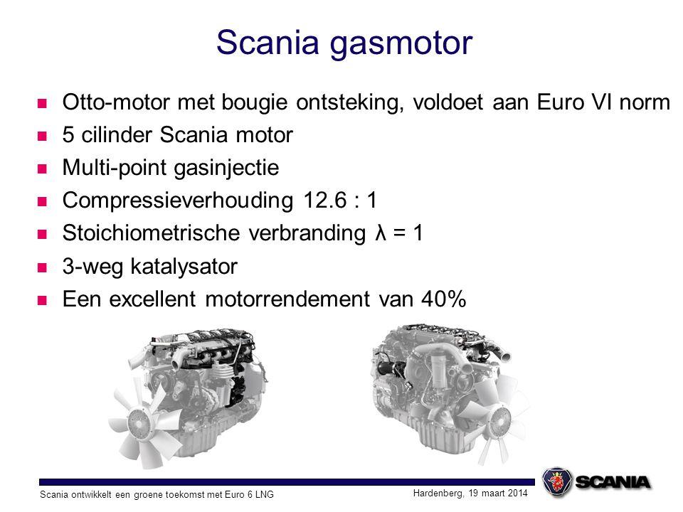 Scania ontwikkelt een groene toekomst met Euro 6 LNG Hardenberg, 19 maart 2014 Scania gasmotor De Scania gasmotor rijdt als een diesel OC09 101 gasmotor 9,3 liter 280 Pk bij 1900 omw/min 1350 Nm bij 1000–1400 omw/min OC09 102 gasmotor 9,3 liter 340 Pk bij 1900 omw/min 1600 Nm bij 1100–1400 omw/min Gas Euro 6 280Pk Euro 6 diesel Gas Euro 6 320Pk Euro 6 diesel