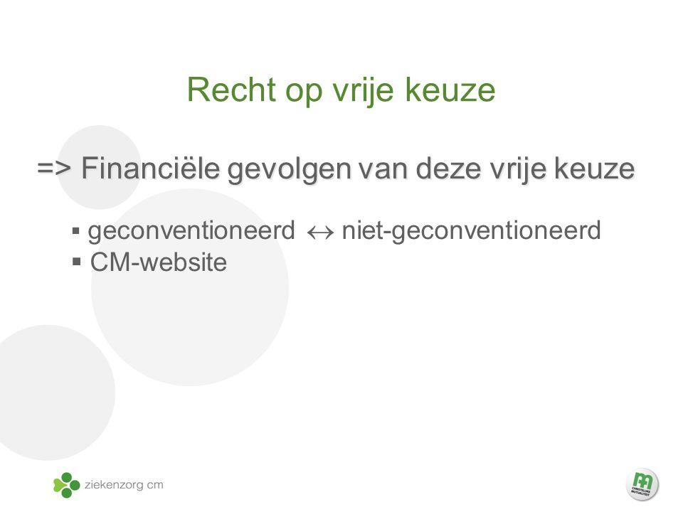 Recht op vrije keuze => Financiële gevolgen van deze vrije keuze  geconventioneerd  niet-geconventioneerd  CM-website