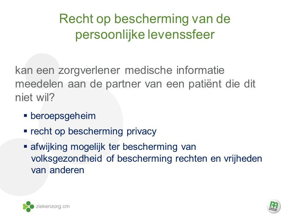 Recht op bescherming van de persoonlijke levenssfeer kan een zorgverlener medische informatie meedelen aan de partner van een patiënt die dit niet wil.