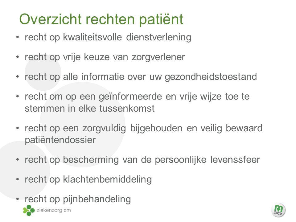Overzicht rechten patiëntpatiënt recht op kwaliteitsvolle dienstverlening recht op vrije keuze van zorgverlener recht op alle informatie over uw gezon