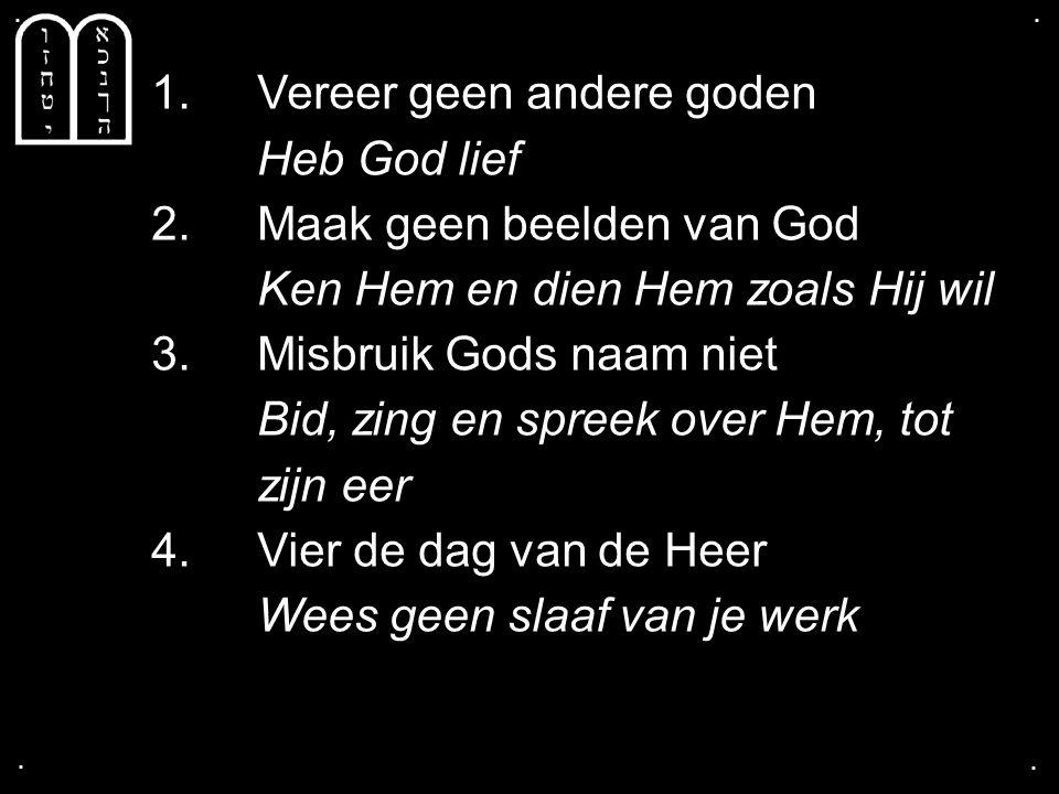 .... 1. Vereer geen andere goden Heb God lief 2. Maak geen beelden van God Ken Hem en dien Hem zoals Hij wil 3. Misbruik Gods naam niet Bid, zing en s