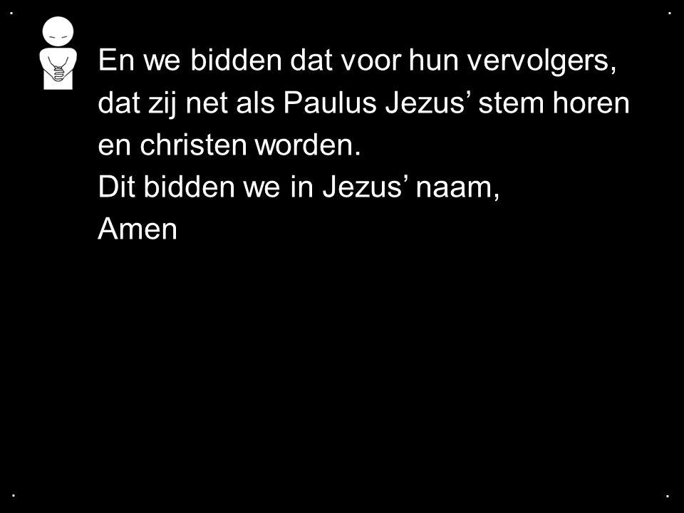.... En we bidden dat voor hun vervolgers, dat zij net als Paulus Jezus' stem horen en christen worden. Dit bidden we in Jezus' naam, Amen