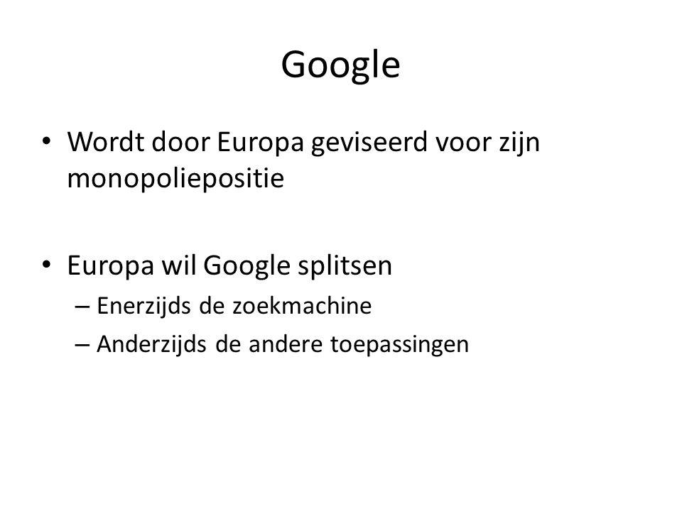 Google Wordt door Europa geviseerd voor zijn monopoliepositie Europa wil Google splitsen – Enerzijds de zoekmachine – Anderzijds de andere toepassingen