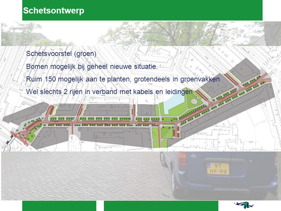Schetsontwerp Schetsvoorstel (groen) Bomen mogelijk bij geheel nieuwe situatie.