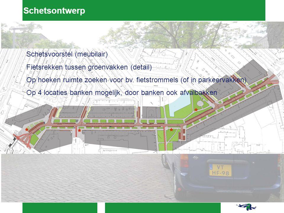 Schetsontwerp Schetsvoorstel (meubilair) Fietsrekken tussen groenvakken (detail) Op hoeken ruimte zoeken voor bv.