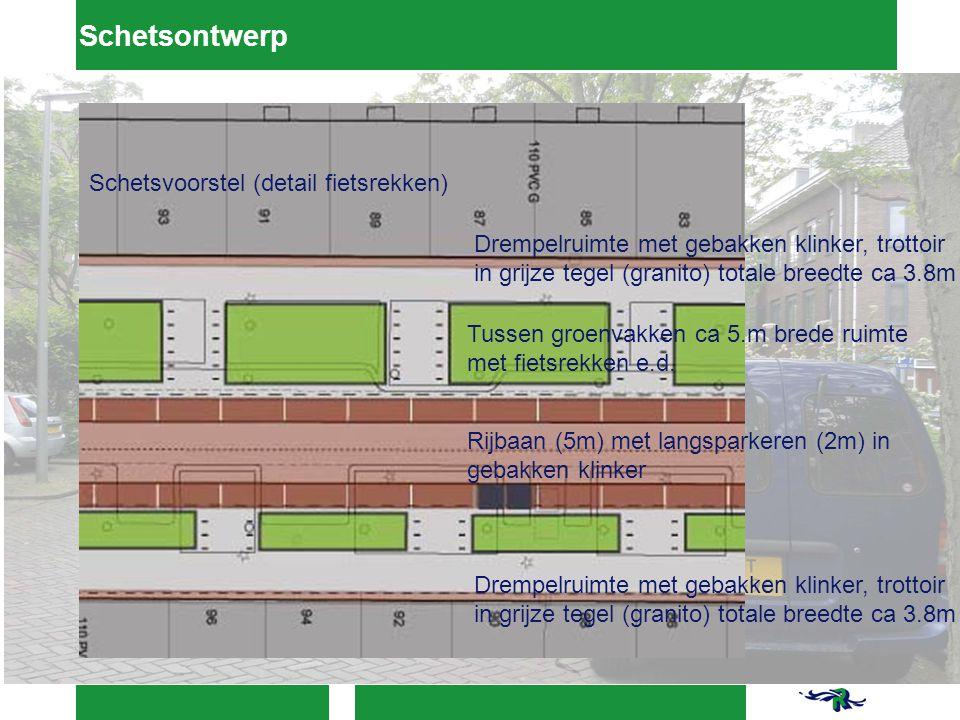 Schetsontwerp Drempelruimte met gebakken klinker, trottoir in grijze tegel (granito) totale breedte ca 3.8m Tussen groenvakken ca 5.m brede ruimte met fietsrekken e.d.