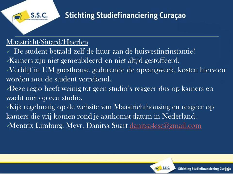 10 Maastricht/Sittard/Heerlen De student betaald zelf de huur aan de huisvestinginstantie.
