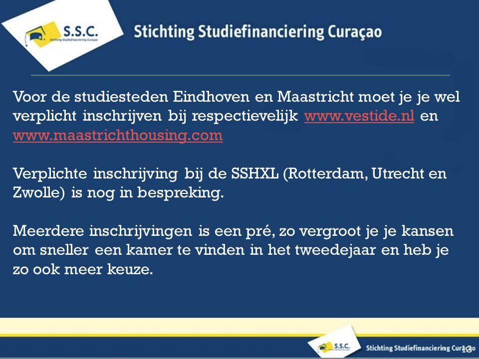 Voor de studiesteden Eindhoven en Maastricht moet je je wel verplicht inschrijven bij respectievelijk www.vestide.nl en www.maastrichthousing.comwww.vestide.nl www.maastrichthousing.com Verplichte inschrijving bij de SSHXL (Rotterdam, Utrecht en Zwolle) is nog in bespreking.