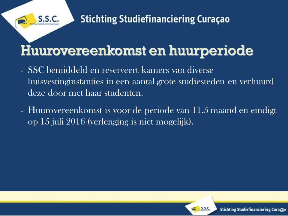 SSC bemiddeld en reserveert kamers van diverse huisvestinginstanties in een aantal grote studiesteden en verhuurd deze door met haar studenten.