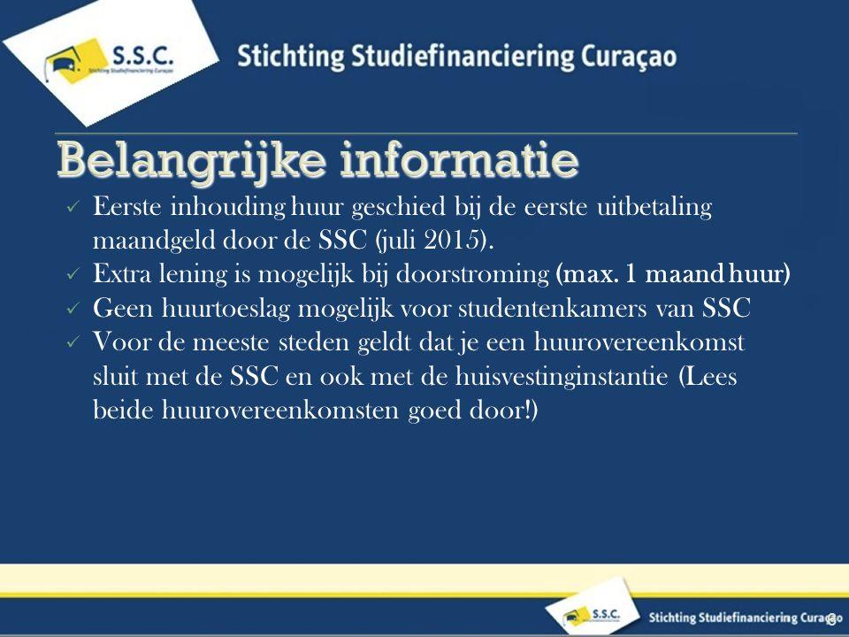 Eerste inhouding huur geschied bij de eerste uitbetaling maandgeld door de SSC (juli 2015).