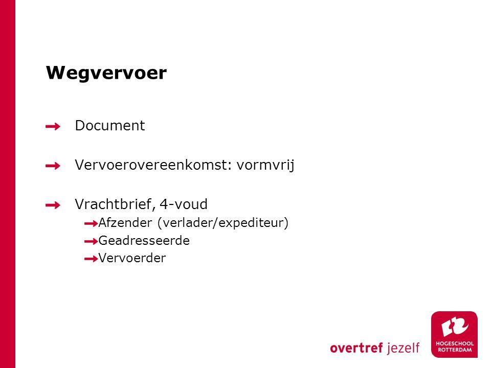 Wegvervoer Document Vervoerovereenkomst: vormvrij Vrachtbrief, 4-voud Afzender (verlader/expediteur) Geadresseerde Vervoerder