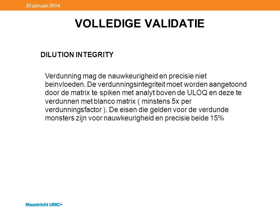 VOLLEDIGE VALIDATIE 30 januari 2014 DILUTION INTEGRITY Verdunning mag de nauwkeurigheid en precisie niet beinvloeden. De verdunningsintegriteit moet w