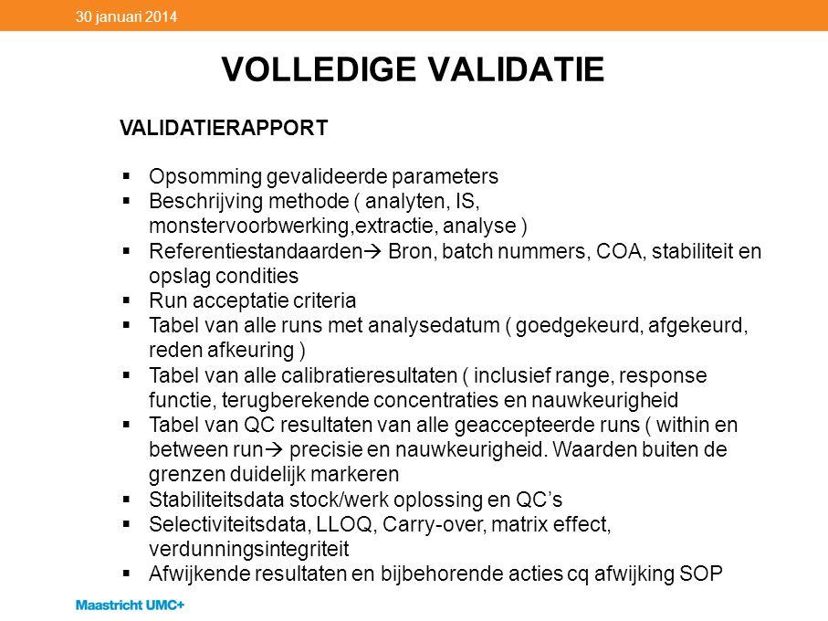 VOLLEDIGE VALIDATIE 30 januari 2014 VALIDATIERAPPORT  Opsomming gevalideerde parameters  Beschrijving methode ( analyten, IS, monstervoorbwerking,ex