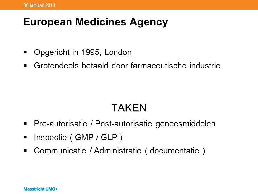 30 januari 2014 European Medicines Agency  Opgericht in 1995, London  Grotendeels betaald door farmaceutische industrie TAKEN  Pre-autorisatie / Po