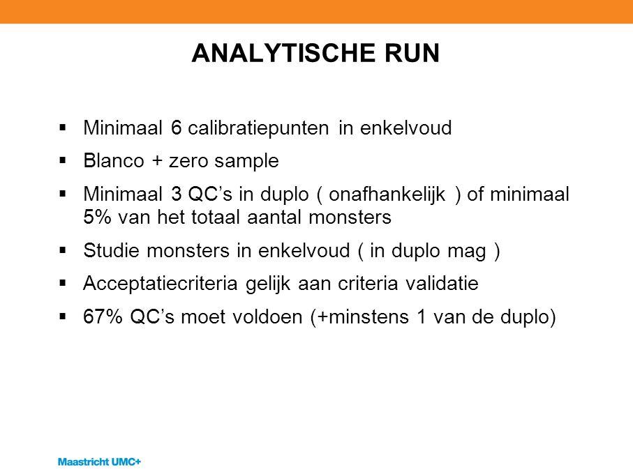ANALYTISCHE RUN  Minimaal 6 calibratiepunten in enkelvoud  Blanco + zero sample  Minimaal 3 QC's in duplo ( onafhankelijk ) of minimaal 5% van het