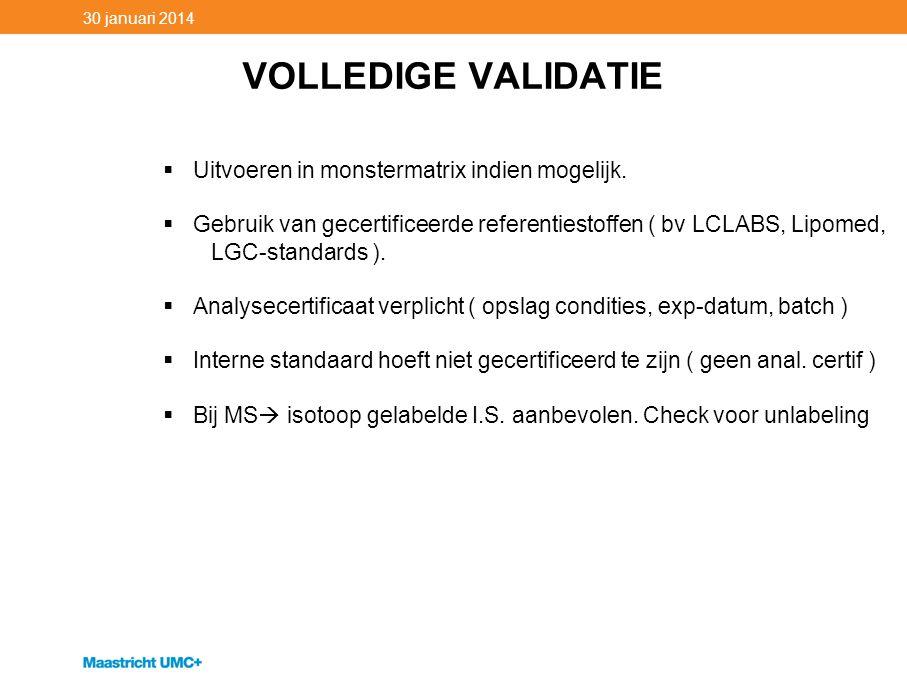 VOLLEDIGE VALIDATIE 30 januari 2014  Uitvoeren in monstermatrix indien mogelijk.  Gebruik van gecertificeerde referentiestoffen ( bv LCLABS, Lipomed