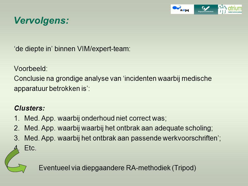 Vervolgens: 'de diepte in' binnen VIM/expert-team: Voorbeeld: Conclusie na grondige analyse van 'incidenten waarbij medische apparatuur betrokken is':
