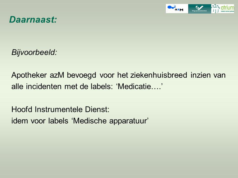 Daarnaast: Bijvoorbeeld: Apotheker azM bevoegd voor het ziekenhuisbreed inzien van alle incidenten met de labels: 'Medicatie….' Hoofd Instrumentele Di