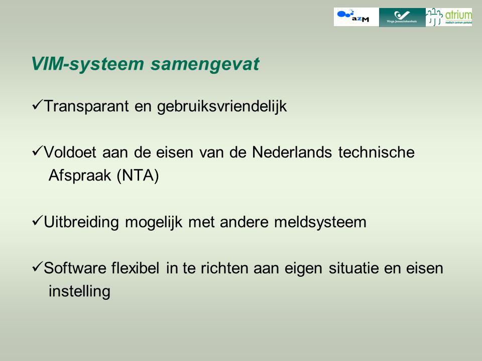 VIM-systeem samengevat Transparant en gebruiksvriendelijk Voldoet aan de eisen van de Nederlands technische Afspraak (NTA) Uitbreiding mogelijk met an