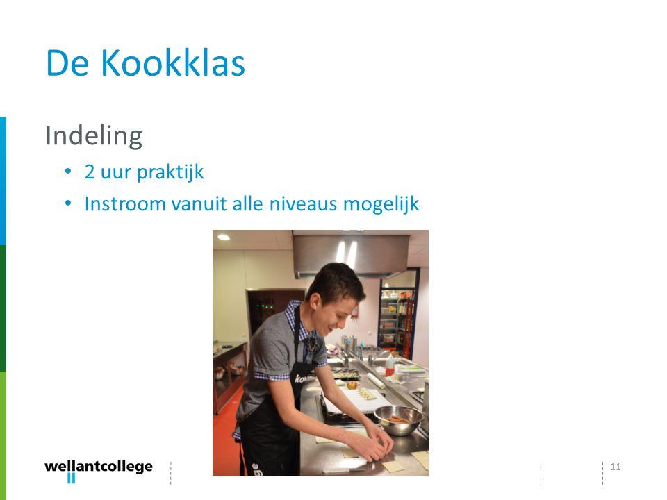 De Kookklas Indeling 2 uur praktijk Instroom vanuit alle niveaus mogelijk 11