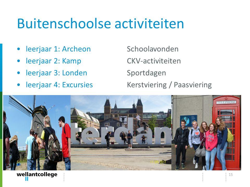 Buitenschoolse activiteiten leerjaar 1: Archeon leerjaar 2: Kamp leerjaar 3: Londen leerjaar 4: Excursies Schoolavonden CKV-activiteiten Sportdagen Ke