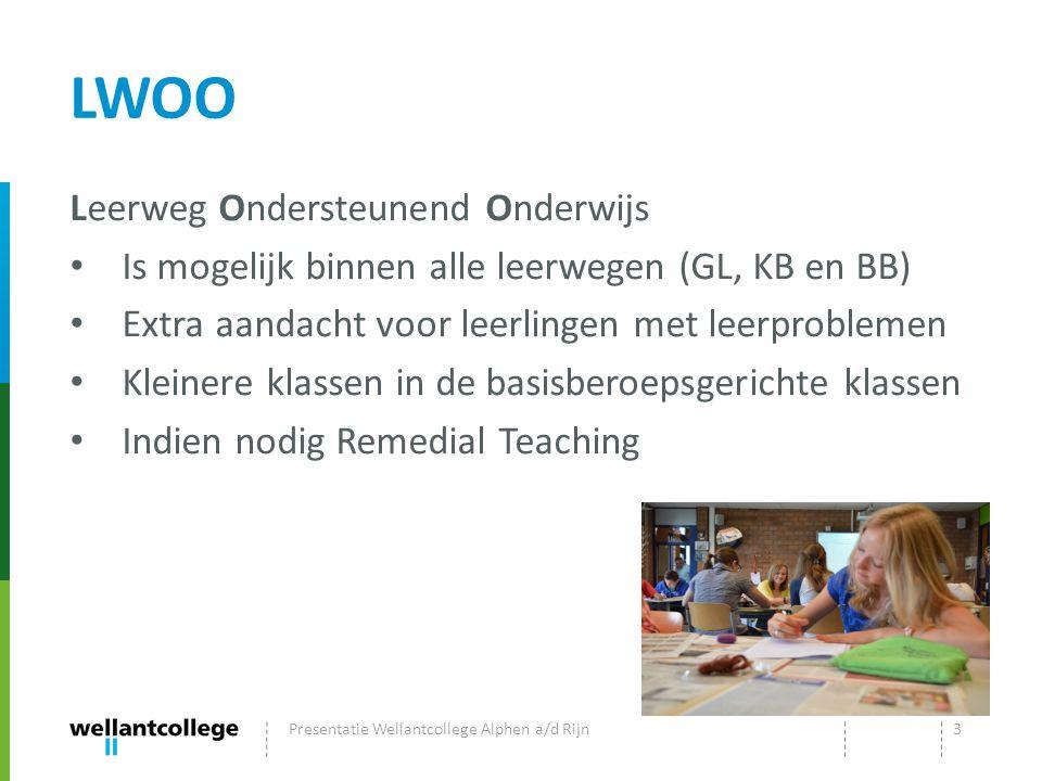 LWOO Leerweg Ondersteunend Onderwijs Is mogelijk binnen alle leerwegen (GL, KB en BB) Extra aandacht voor leerlingen met leerproblemen Kleinere klasse