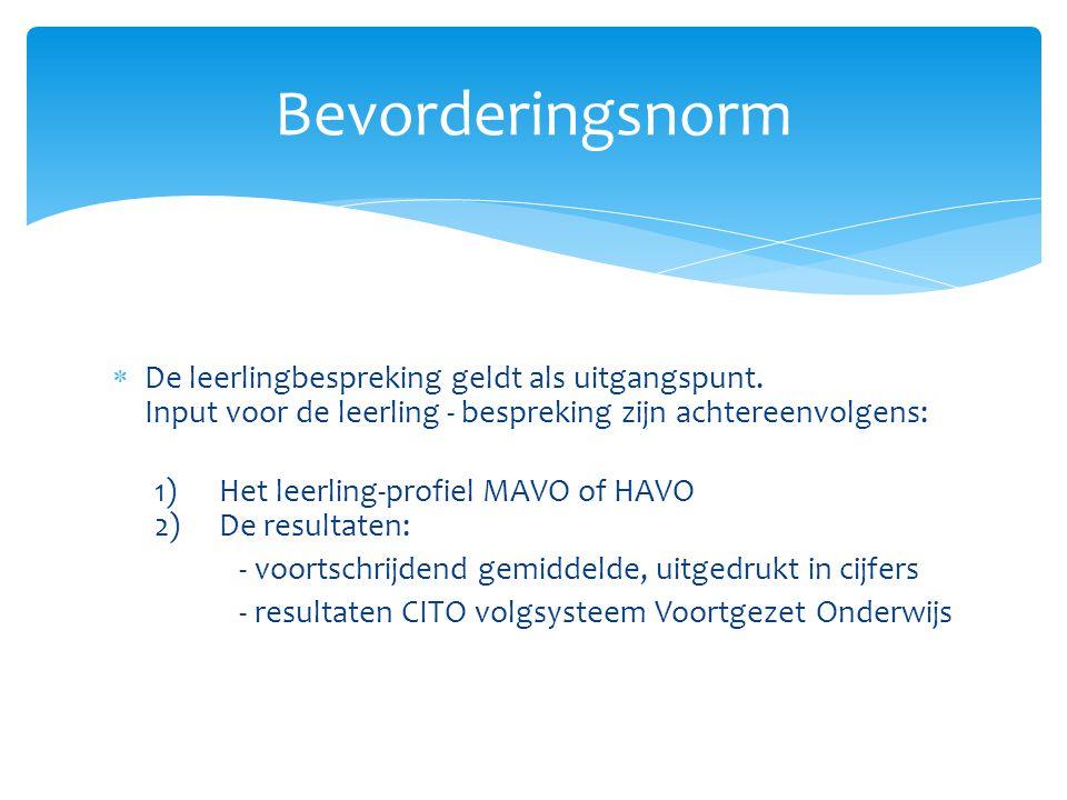 Bevordering van MAVO1 naar MAVO2 geldt:  Leerling heeft niet meer dan 2 onvoldoendes (een vier telt voor 2 onvoldoendes)  Leerling heeft maximaal 1 onvoldoende voor Nederlands of Wiskunde