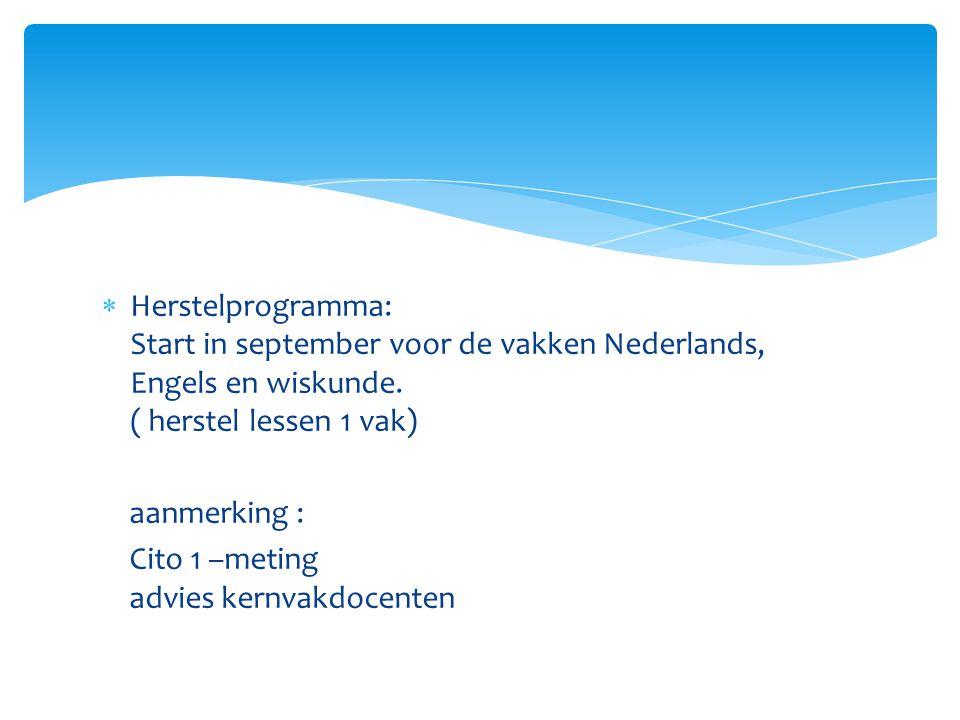  Herstelprogramma: Start in september voor de vakken Nederlands, Engels en wiskunde. ( herstel lessen 1 vak) aanmerking : Cito 1 –meting advies kernv