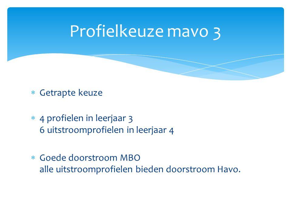  Getrapte keuze  4 profielen in leerjaar 3 6 uitstroomprofielen in leerjaar 4  Goede doorstroom MBO alle uitstroomprofielen bieden doorstroom Havo.
