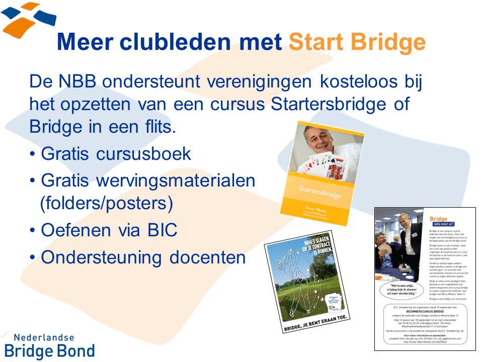 Meer clubleden met Start Bridge De NBB ondersteunt verenigingen kosteloos bij het opzetten van een cursus Startersbridge of Bridge in een flits. Grati