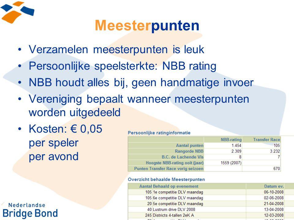 Meesterpunten Verzamelen meesterpunten is leuk Persoonlijke speelsterkte: NBB rating NBB houdt alles bij, geen handmatige invoer Vereniging bepaalt wa