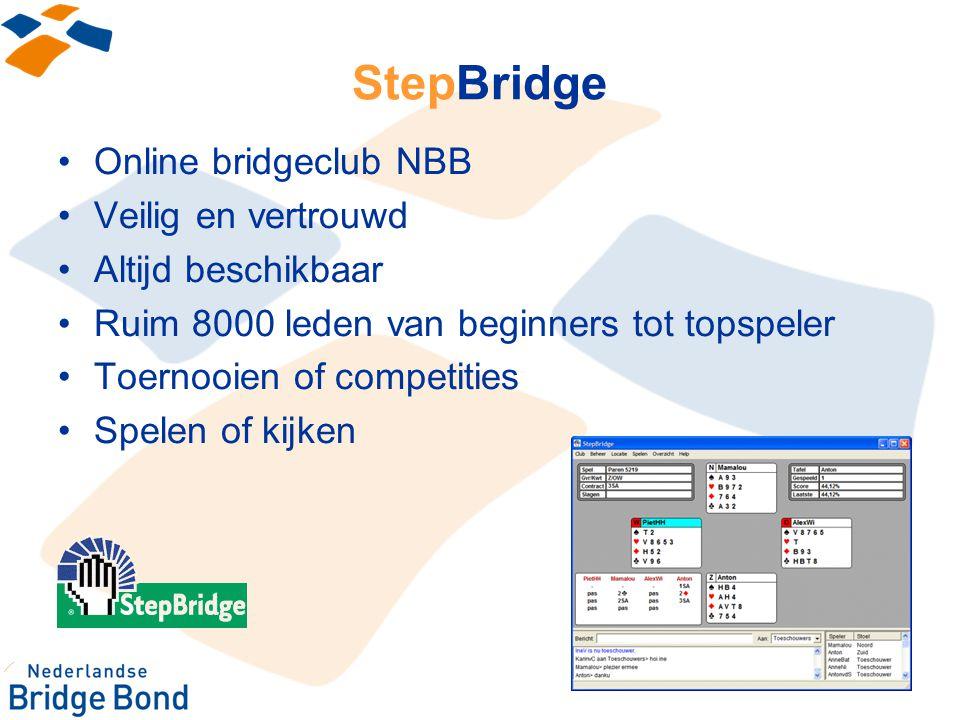 StepBridge Online bridgeclub NBB Veilig en vertrouwd Altijd beschikbaar Ruim 8000 leden van beginners tot topspeler Toernooien of competities Spelen o