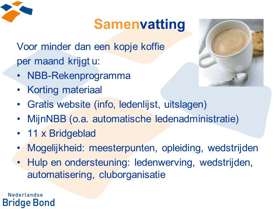Samenvatting Voor minder dan een kopje koffie per maand krijgt u: NBB-Rekenprogramma Korting materiaal Gratis website (info, ledenlijst, uitslagen) Mi