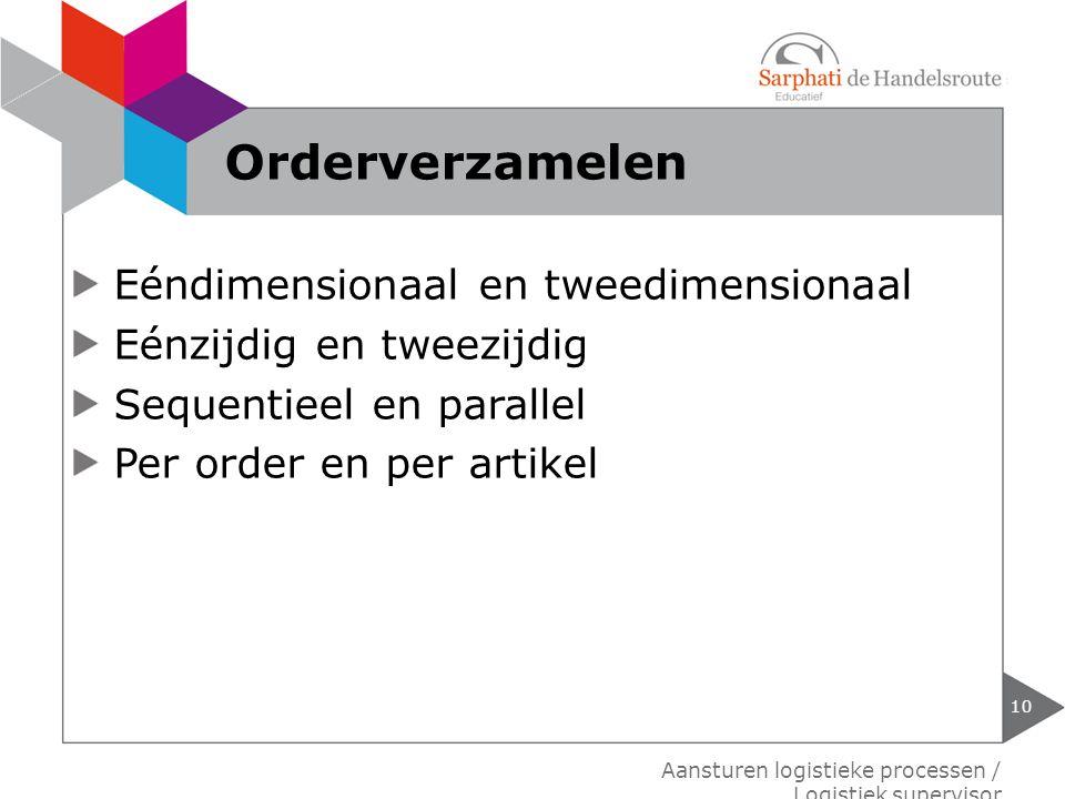 Eéndimensionaal en tweedimensionaal Eénzijdig en tweezijdig Sequentieel en parallel Per order en per artikel 10 Aansturen logistieke processen / Logis