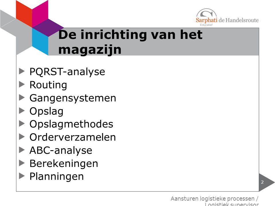 PQRST-analyse Routing Gangensystemen Opslag Opslagmethodes Orderverzamelen ABC-analyse Berekeningen Planningen Aansturen logistieke processen / Logist