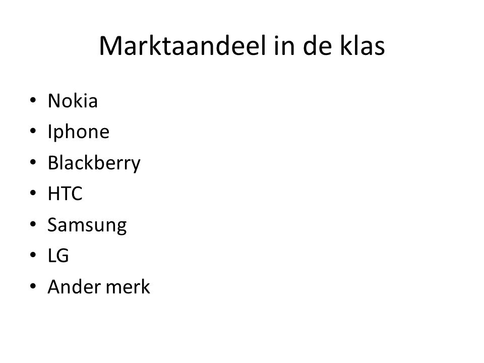 Marktaandeel in de klas Nokia Iphone Blackberry HTC Samsung LG Ander merk