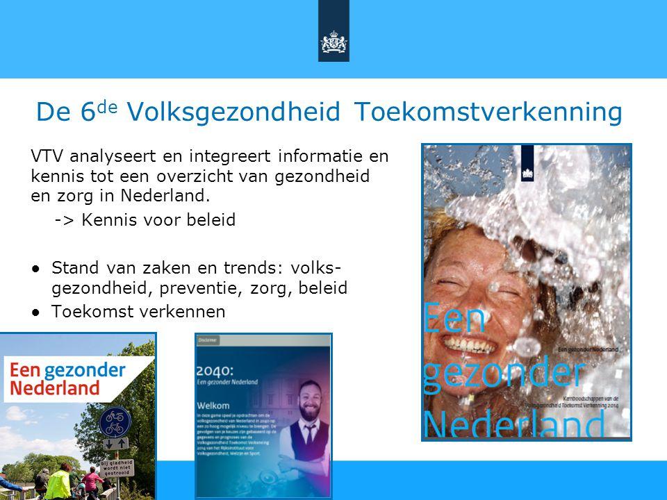 De 6 de Volksgezondheid Toekomstverkenning VTV analyseert en integreert informatie en kennis tot een overzicht van gezondheid en zorg in Nederland. ->