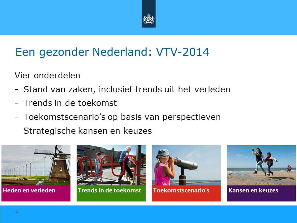 3 Een gezonder Nederland: VTV-2014 Vier onderdelen -Stand van zaken, inclusief trends uit het verleden -Trends in de toekomst -Toekomstscenario's op b