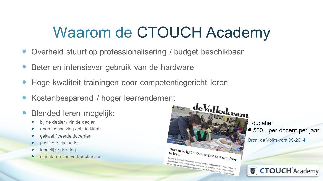 Waarom de CTOUCH Academy Overheid stuurt op professionalisering / budget beschikbaar Beter en intensiever gebruik van de hardware Hoge kwaliteit train