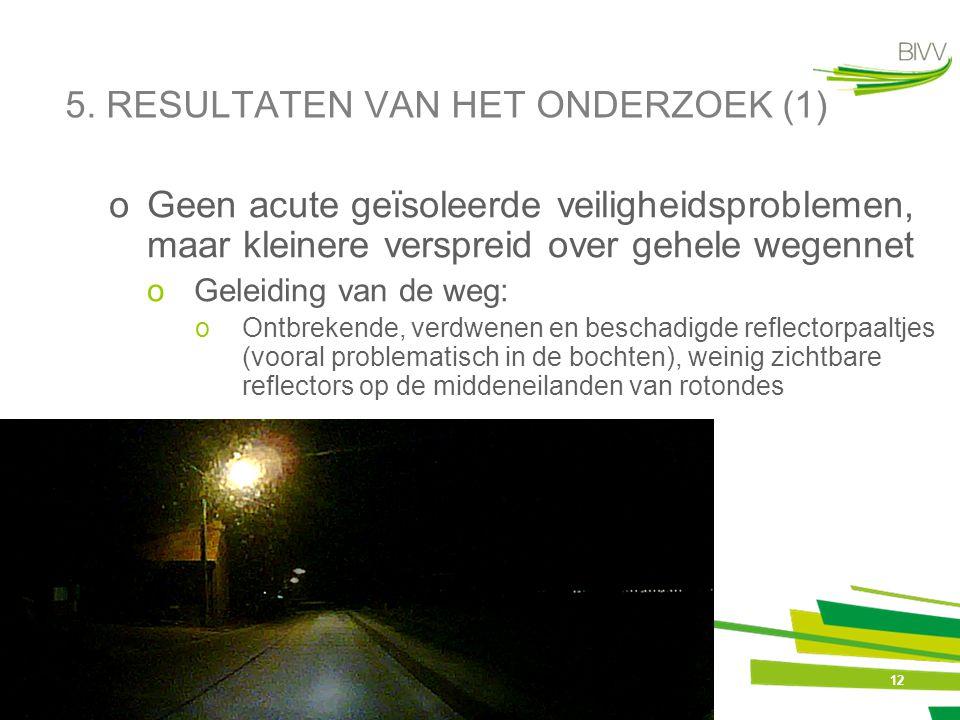 12 5. RESULTATEN VAN HET ONDERZOEK (1) oGeen acute geïsoleerde veiligheidsproblemen, maar kleinere verspreid over gehele wegennet oGeleiding van de we