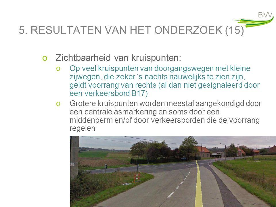 30 5. RESULTATEN VAN HET ONDERZOEK (15) oZichtbaarheid van kruispunten: oOp veel kruispunten van doorgangswegen met kleine zijwegen, die zeker 's nach