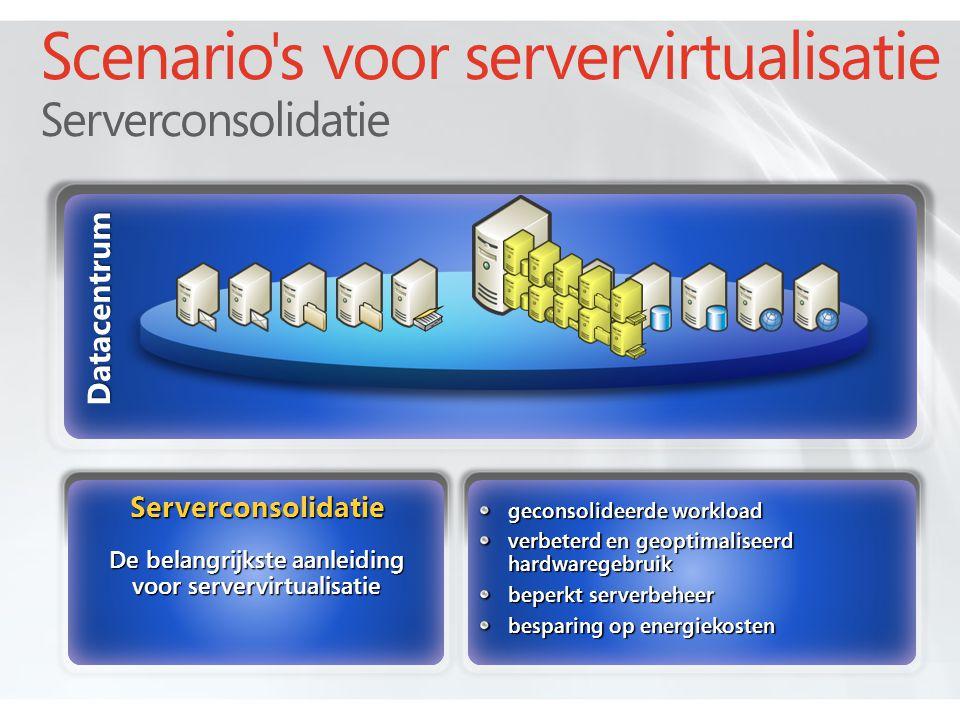 Datacentrum geconsolideerde workload verbeterd en geoptimaliseerd hardwaregebruik beperkt serverbeheer besparing op energiekosten Scenario s voor servervirtualisatie Serverconsolidatie Serverconsolidatie De belangrijkste aanleiding voor servervirtualisatie