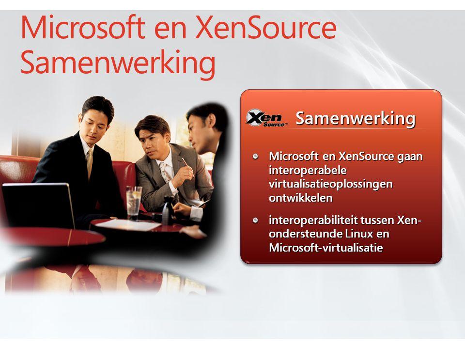Microsoft en XenSource gaan interoperabele virtualisatieoplossingen ontwikkelen interoperabiliteit tussen Xen- ondersteunde Linux en Microsoft-virtualisatie Samenwerking Microsoft en XenSource Samenwerking