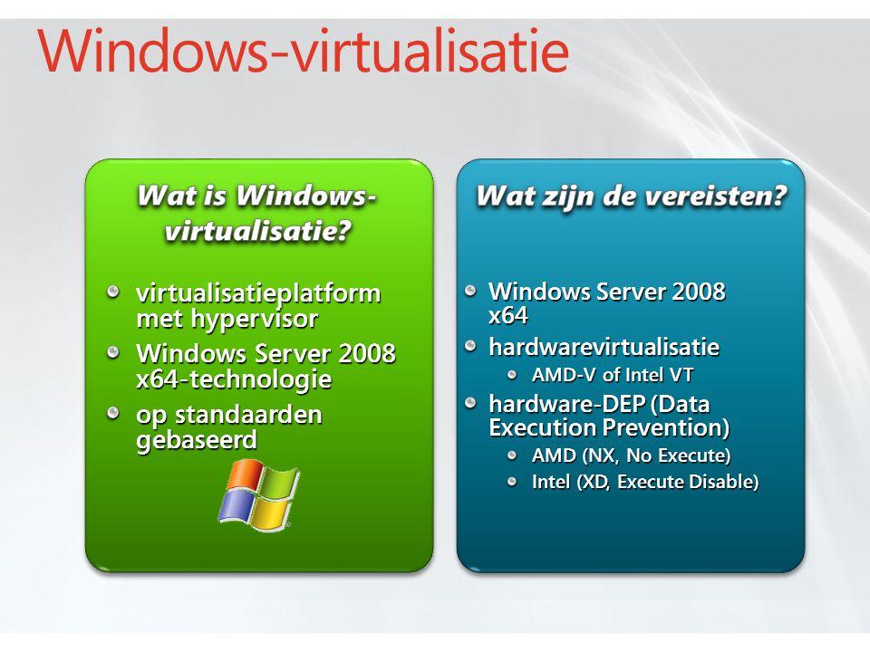 Windows-virtualisatie Windows Server 2008 x64 hardwarevirtualisatie AMD-V of Intel VT hardware-DEP (Data Execution Prevention) AMD (NX, No Execute) Intel (XD, Execute Disable) virtualisatieplatform met hypervisor Windows Server 2008 x64-technologie op standaarden gebaseerd