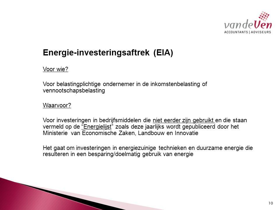 Energie-investeringsaftrek (EIA) Voor wie.