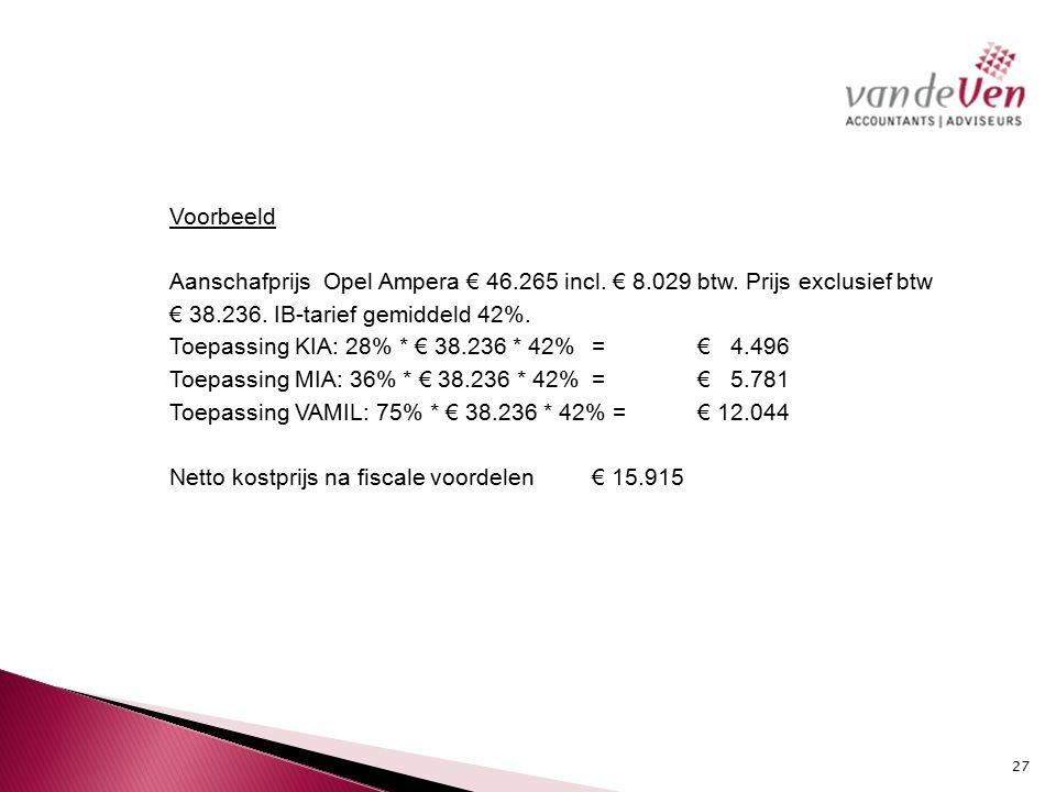 Voorbeeld Aanschafprijs Opel Ampera € 46.265 incl.
