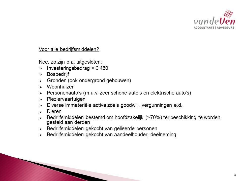 Voorbeeld VPB-ondernemer De fiscale winst in 2013 bedraagt € 200.000.