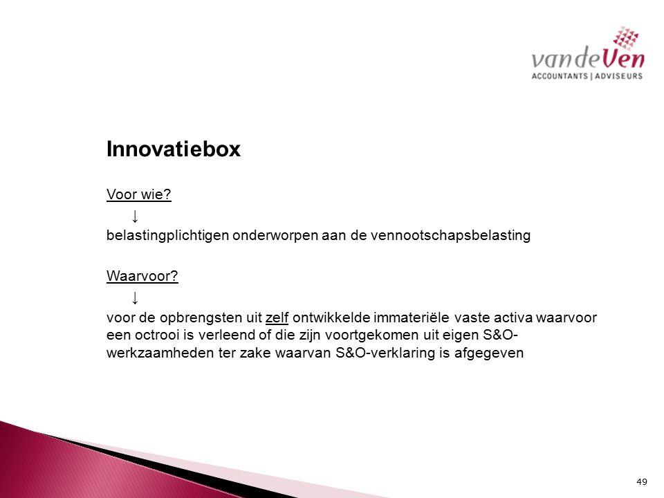 Innovatiebox Voor wie.↓ belastingplichtigen onderworpen aan de vennootschapsbelasting Waarvoor.