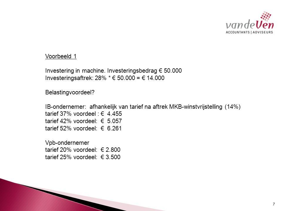 Voorbeeld1 Investering in machine.